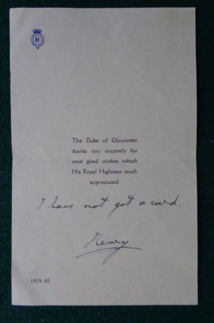 Antique Signed Royal Christmas Letter Prince Henry Duke of Gloucester No Cards